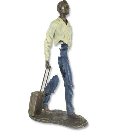 Escultura Bruno Catalano hombre maleta