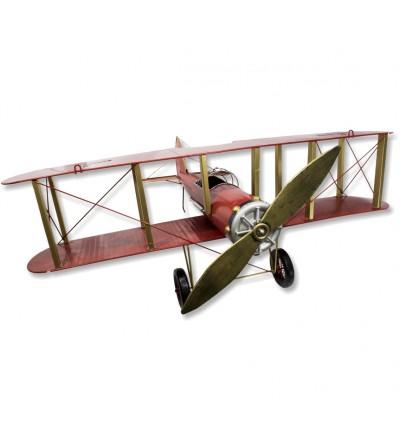 Avion décoratif métallique rouge