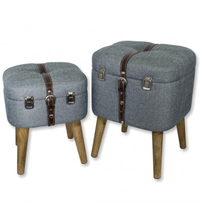 Set de 2 taburetes denim