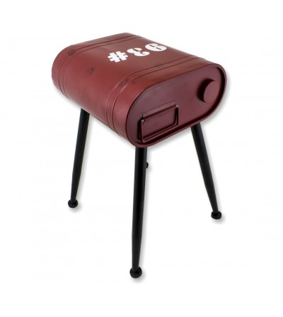 Long red gasoline side table
