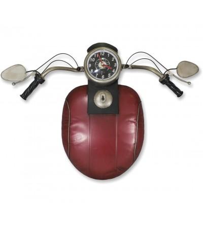 Relógio decorativo de motocicleta vermelho metálico