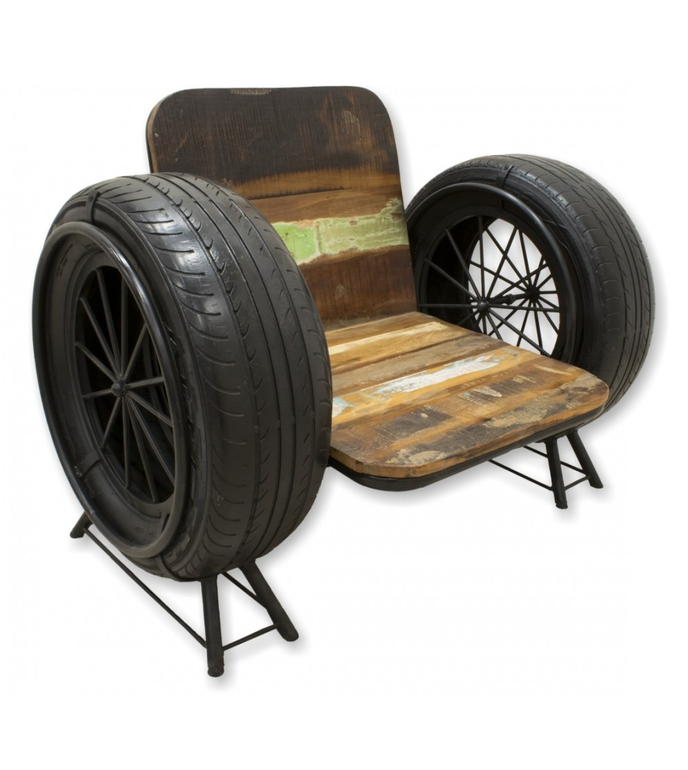 Vintage armchair with tires