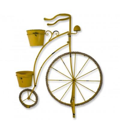 Fioriera gialla per biciclette