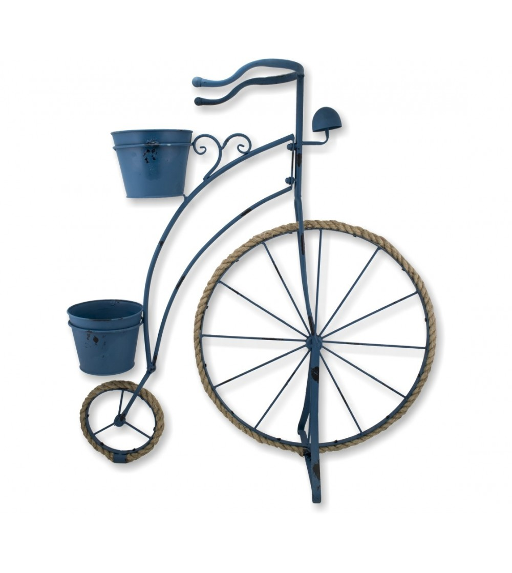 Blue bicycle planter