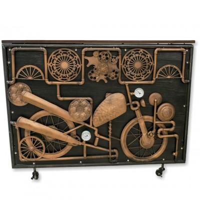 Mostrador vintage tuberías y moto