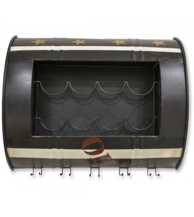 Metallic oil bottle coat rack