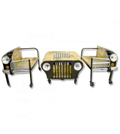 Mesa de centro Jeep con 2 sillones coche
