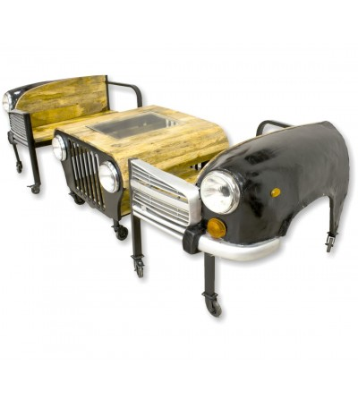 Jeep coffee table with 2 car seats