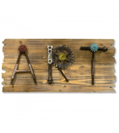 Wood and metal tabletop wall decoration ART