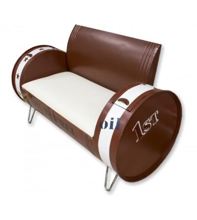 Industrial barrel 2-seater sofa