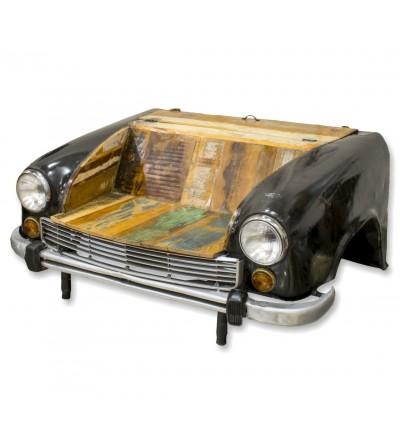 Sofá vintage preto para carro com luzes e móveis