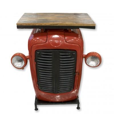 Vintage tractor side table with lights