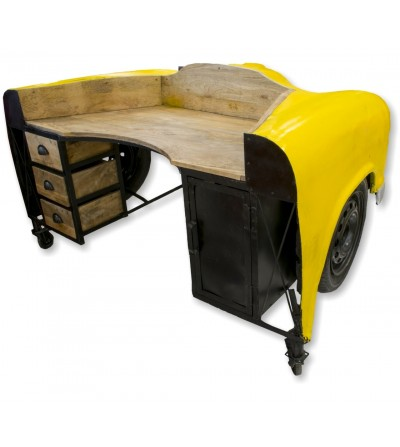 Vintage yellow car desk with lights