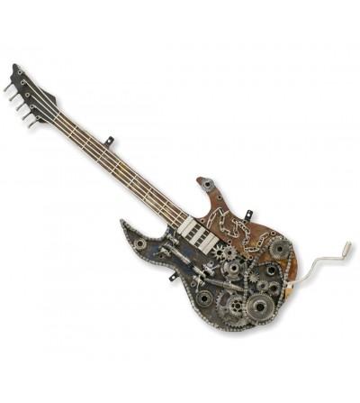 Chitarra elettrica decorativa in metallo a rilievo