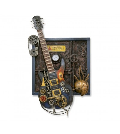 Guitarra eléctrica metálica y cuadro relieve