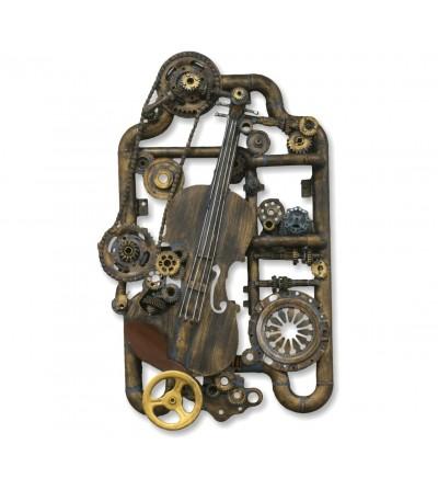 Dekoratives Geigenbild, Zahnräder und Pfeifen