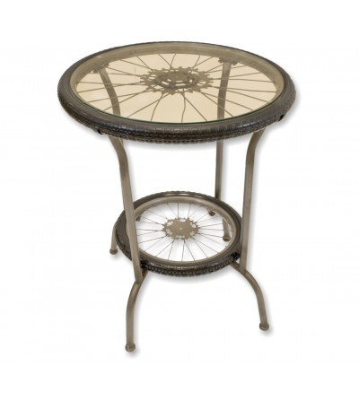 Mesa vintage ruedas de bicicleta