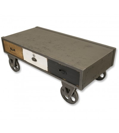 Industrial style coffee table on casters