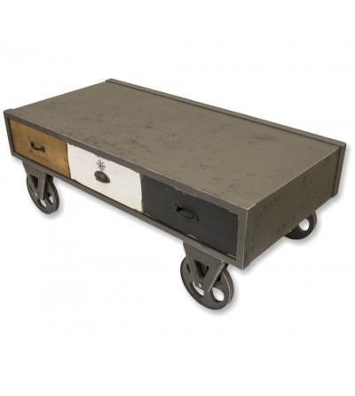 Tavolino in stile industriale con rotelle