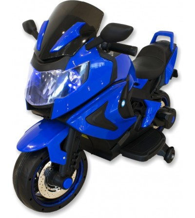 Blue children's electric motorcycle