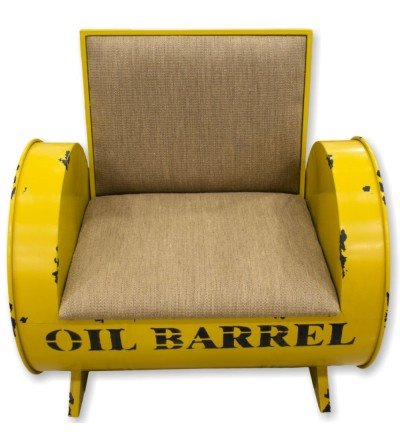 Yellow oil metal barrel armchair