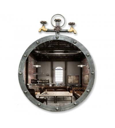 Industrial vintage metal mirror