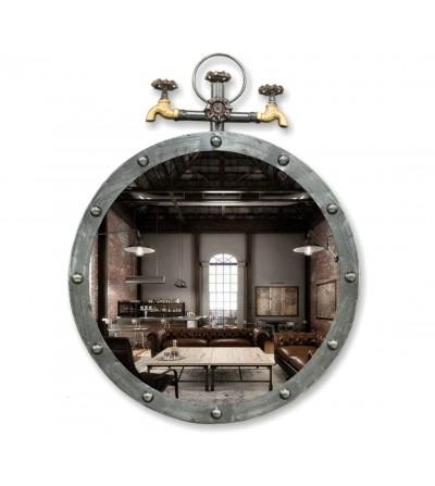 Specchio industriale vintage in metallo