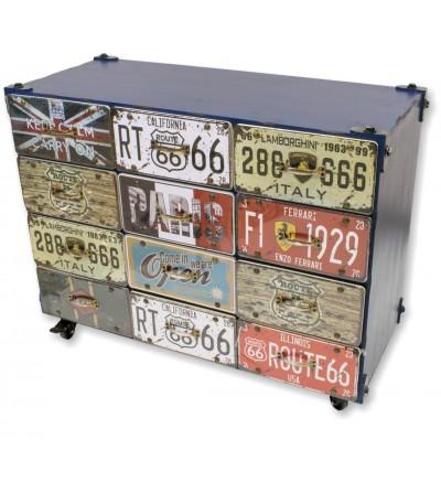 Console vintage de metal azul com gavetas estampadas