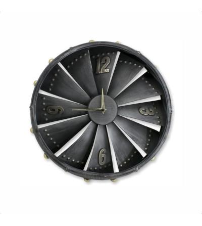 Silver metal airplane turbine clock