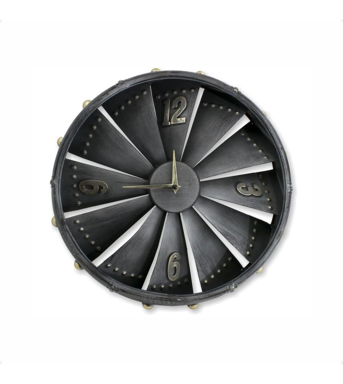 Relógio de turbina de avião de metal prateado