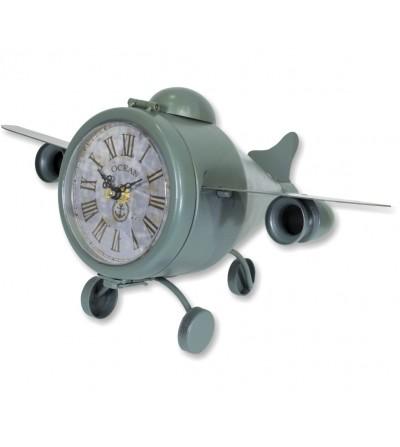 Orologio da tavolo vintage aereo in metallo