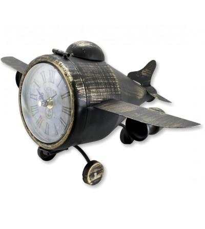 Reloj de mesa metálico avioneta vintage