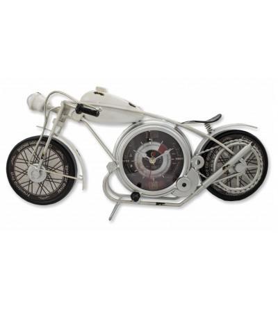 Vintage metallic white motorcycle clock