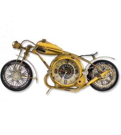 Vintage metallic yellow motorcycle clock