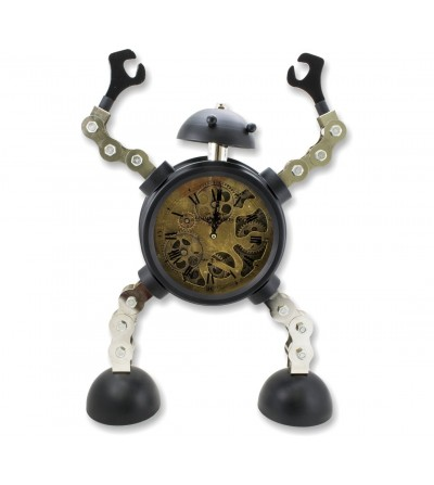 Relógio de robô de metal industrial vintage