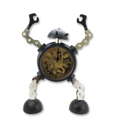 Vintage industrial metal robot clock