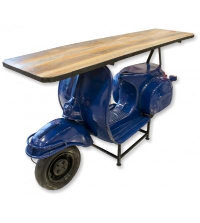 Mostrador vintage moto azul