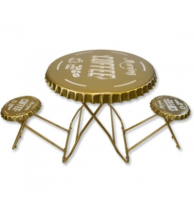 Conjunto mesa y taburetes vintage plegable oro