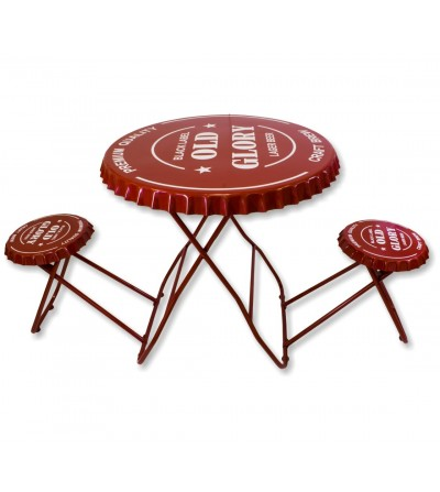 Red folding vintage table and stools set