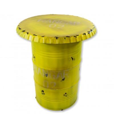 Mesa alta bidon decoracion industrial amarillo