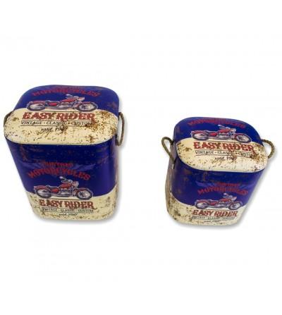 Set 2 Vintage blaue Kunstlederhocker